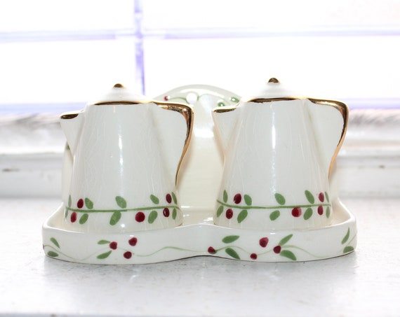 Vintage Salt & Pepper Shakers Coffee Pots with Tray Poinsettia Studios