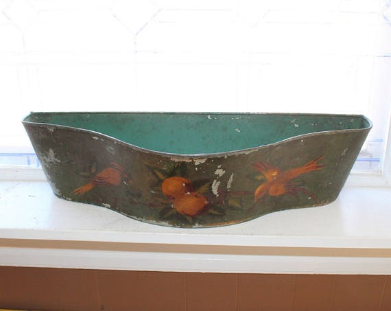 Large Antique Toleware Window Box Planter Painted Tin Bird Fruit 1800s