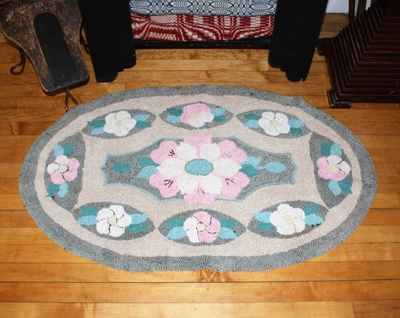 Large Hooked Rug Vintage 1940s 45 x 27 Inches Gray Pink & Blue Floral