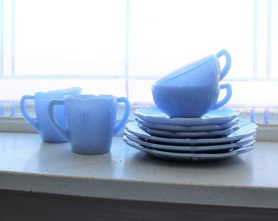 Vintage Depression Glass Cherry Blossom Child's Dishes Delphite Blue