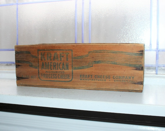 Large Vintage Wood Cheese Box Kraft American Cheese 5 Lb