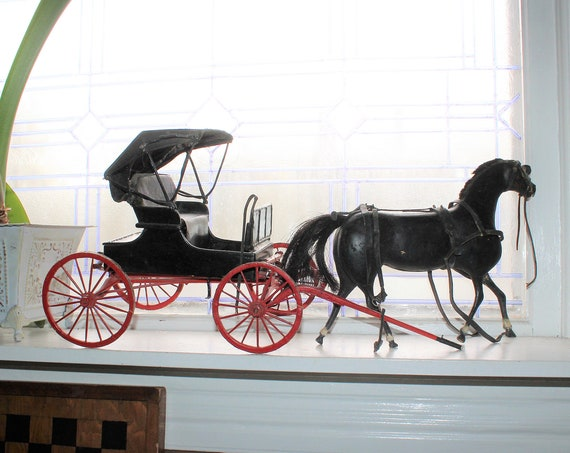 Large Antique Folk Art Horse and Buggy Hand Carved