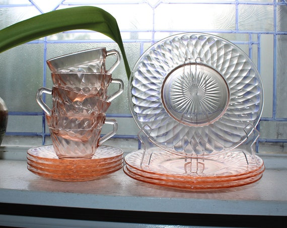 Pink Depression Glass Luncheon Set Svc for 4  1930s Diamond Optic