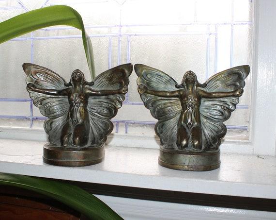 Art Deco Bookends Butterfly Fairy Nude Women Vintage 1920s