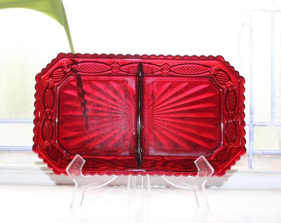 Ruby Red Avon Cape Cod Condiment Dish Fostoria Unused with Box