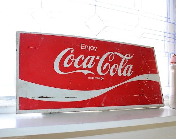 Vintage Coca Cola Sign 22 x 10 Retro Coke 1970s Diner Decor