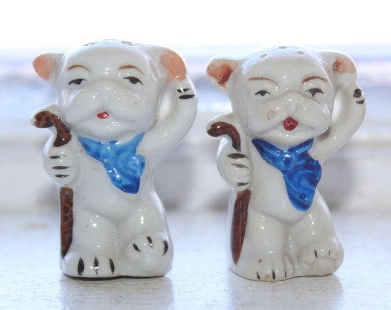 Vintage Dogs with Canes Salt and Pepper Shakers 1950s Kitsch