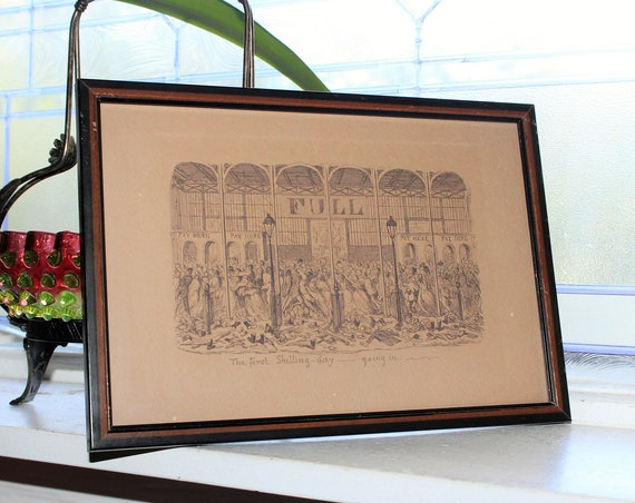Antique Etching George Cruikshank First Shilling Day Going In The Great Exhibition of 1851