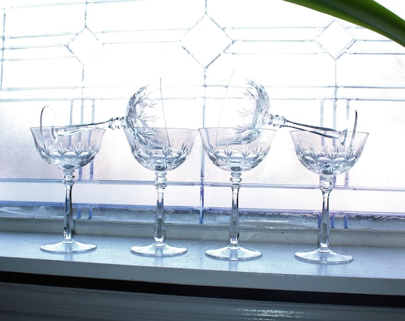 6 Vintage Crystal Champagne Glasses or Tall Sherbets