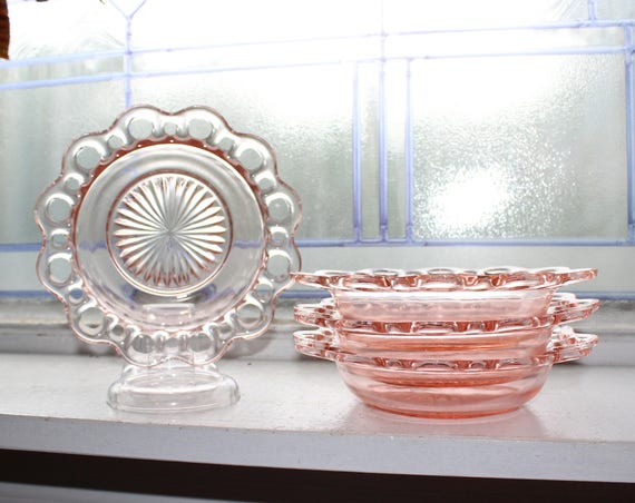 4 Pink Depression Glass Cereal Bowls Lace Edge Open Lace Vintage 1930s
