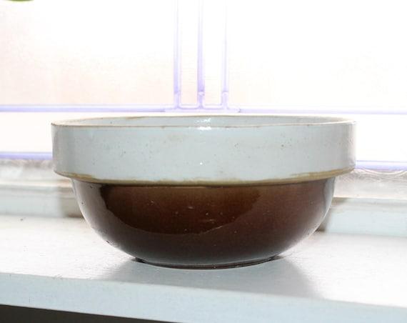 Vintage Brown and Gray Bowl Stoneware Crock Farmhouse Decor