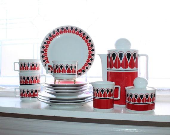 Danish Modern Style Tea Set Vintage 1970s Schirnding Bavaria