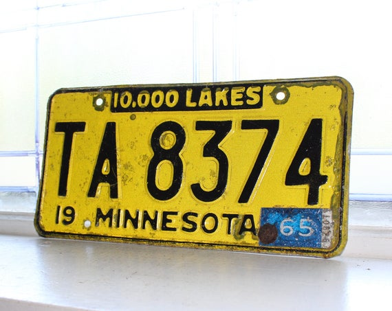 Vintage 1965 Minnesota License Plate Man Cave Decor