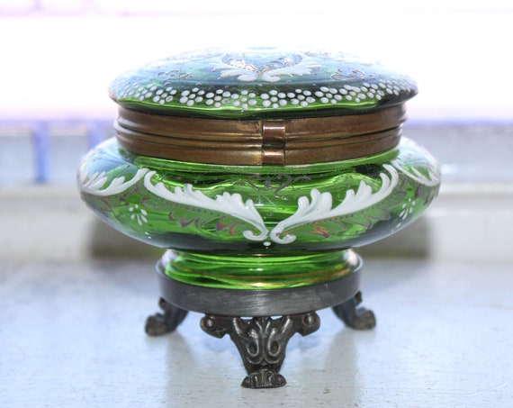 Antique Victorian Jewelry Casket Box Enameled Green Glass