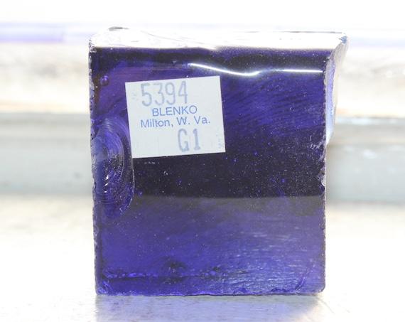 Vintage Blenko Glass Color Sample Block Paperweight Art Supply 5394 G1