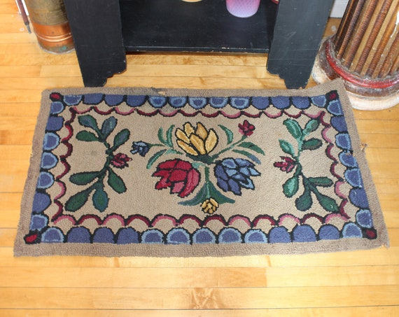 Antique Wool Hooked Rug with Flowers Country Decor