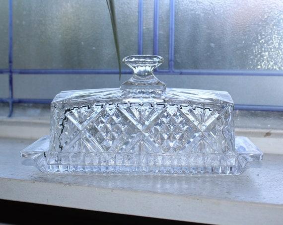 Vintage Clear Glass Butter Dish Quarter Pound Size