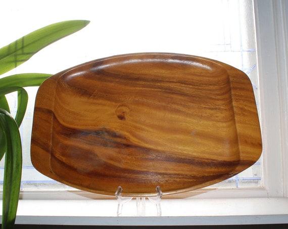 Large Mid Century Monkey Pod Wood Carved Tray