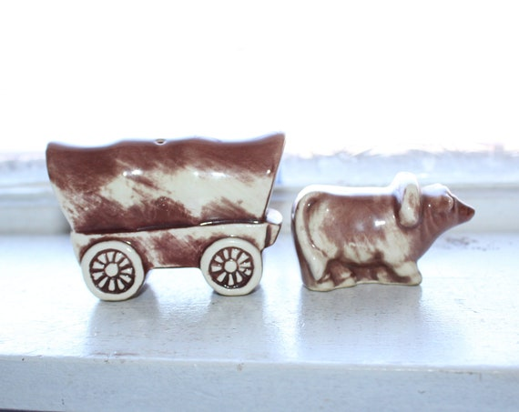 Vintage Ox and Wagon Salt and Pepper Shakers 1960s Kitsch