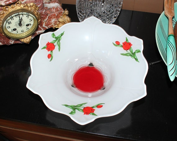 Art Deco Footed Bowl Indiana Glass Red White & Tulips Moderne Classic