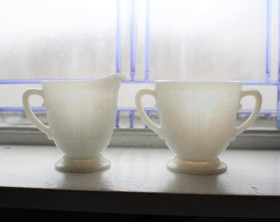 American Sweetheart Depression Glass Creamer and Sugar Bowl Monax
