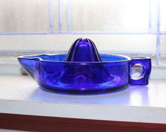 Vintage Cobalt Blue Glass Juicer Reamer