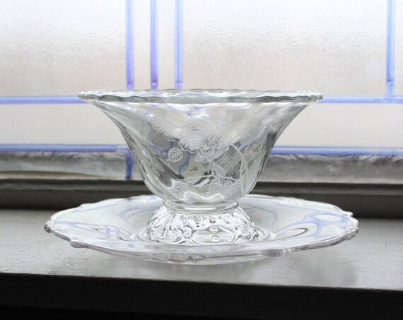 Heisey Rose Etched Mayo Dish with Under Plate Vintage Elegant Glass