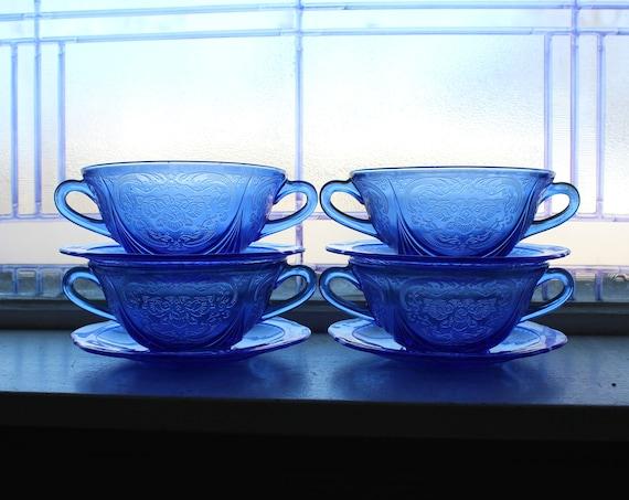 4 Cobalt Blue Depression Glass Cream Soup Bowls & Saucers Royal Lace