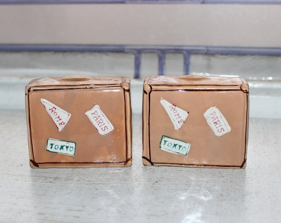 Vintage Suitcases Salt and Pepper Shakers with Travel Stickers