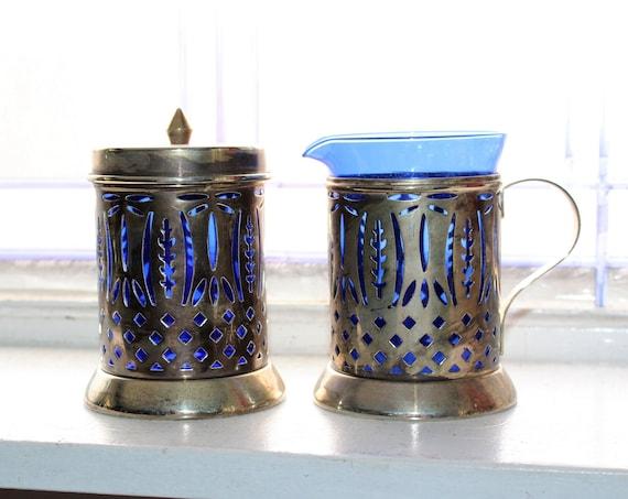 Vintage Silverplate Creamer and Sugar Bowl Cobalt Blue Glass Inserts