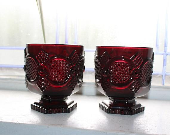 2 Ruby Red Avon Cape Cod Footed Glasses Fostoria & Box