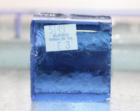 Vintage Blenko Glass Color Sample Block Paperweight Art Supply 5149 E3