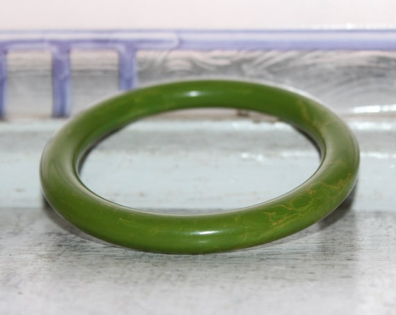Green Marbled Bakelite Bangle Bracelet Vintage 1930s