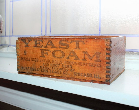 Antique Yeast Foam Box Dovetailed Wood Crate Farmhouse Decor