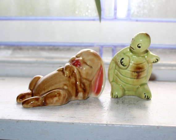 Vintage Salt and Pepper Shakers Tortoise and Hare