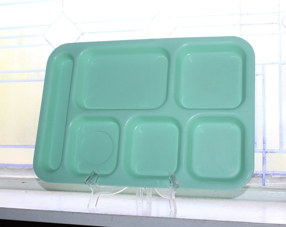 Mid Century Cafeteria Lunch Tray Organizing Tray Turquoise Plastic
