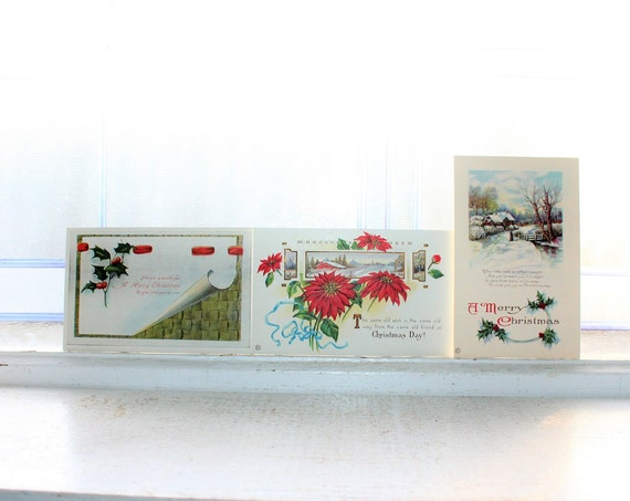 3 Antique Unused Christmas Postcards Circa  1910s