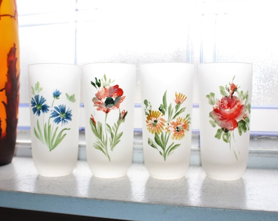 4 Vintage Tumblers High Ball Iced Tea Frosted Glass with Flowers
