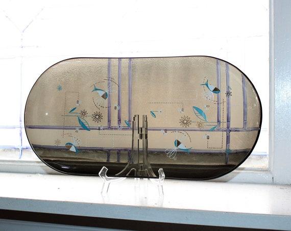 Vintage Mid Century Tray Smoke Glass Turquoise White Gold Hummingbirds