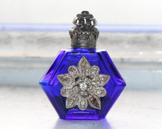 Vintage Cobalt Blue Glass Perfume Bottle with Silver Filigree