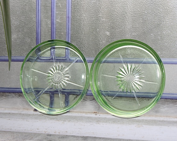 2 Green Depression Glass Coasters Federal Glass Vintage 1930s