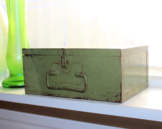 Vintage Metal Box Green Industrial Decor Storage