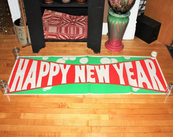 Vintage 1950s Large Happy New Year Banner Red and Green Paper