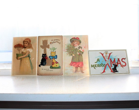 4 Antique Victorian Christmas Postcards 1900-10s