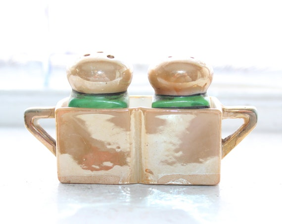 Art Deco Salt & Pepper Shakers with Holder Vintage Lusterware