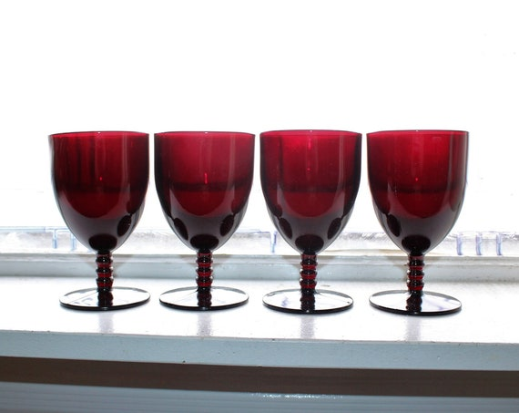 4 Royal Ruby Red Monarch Goblets Stacked Ball Stem Vintage 1950s