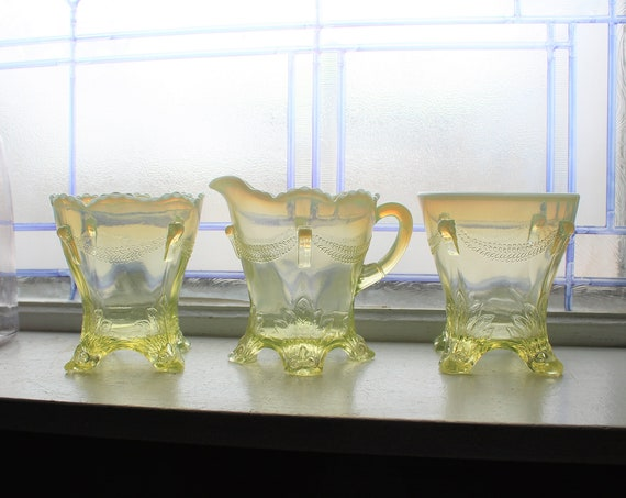 Antique EAPG Sugar Creamer Spooner Yellow Opalescent Swag With Brackets