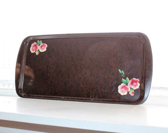 Art Deco Tray Brown with Rose Decoration Vintage 1950s