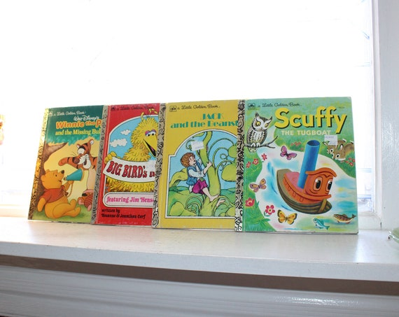 4 Little Golden Books Mickey Mouse Sesame Street Winnie the Pooh Jack and Beanstalk Scuffy Tugboat