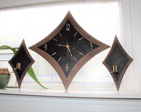 Mid Century Wall Clock with Candle Sconces Vintage 1960s
